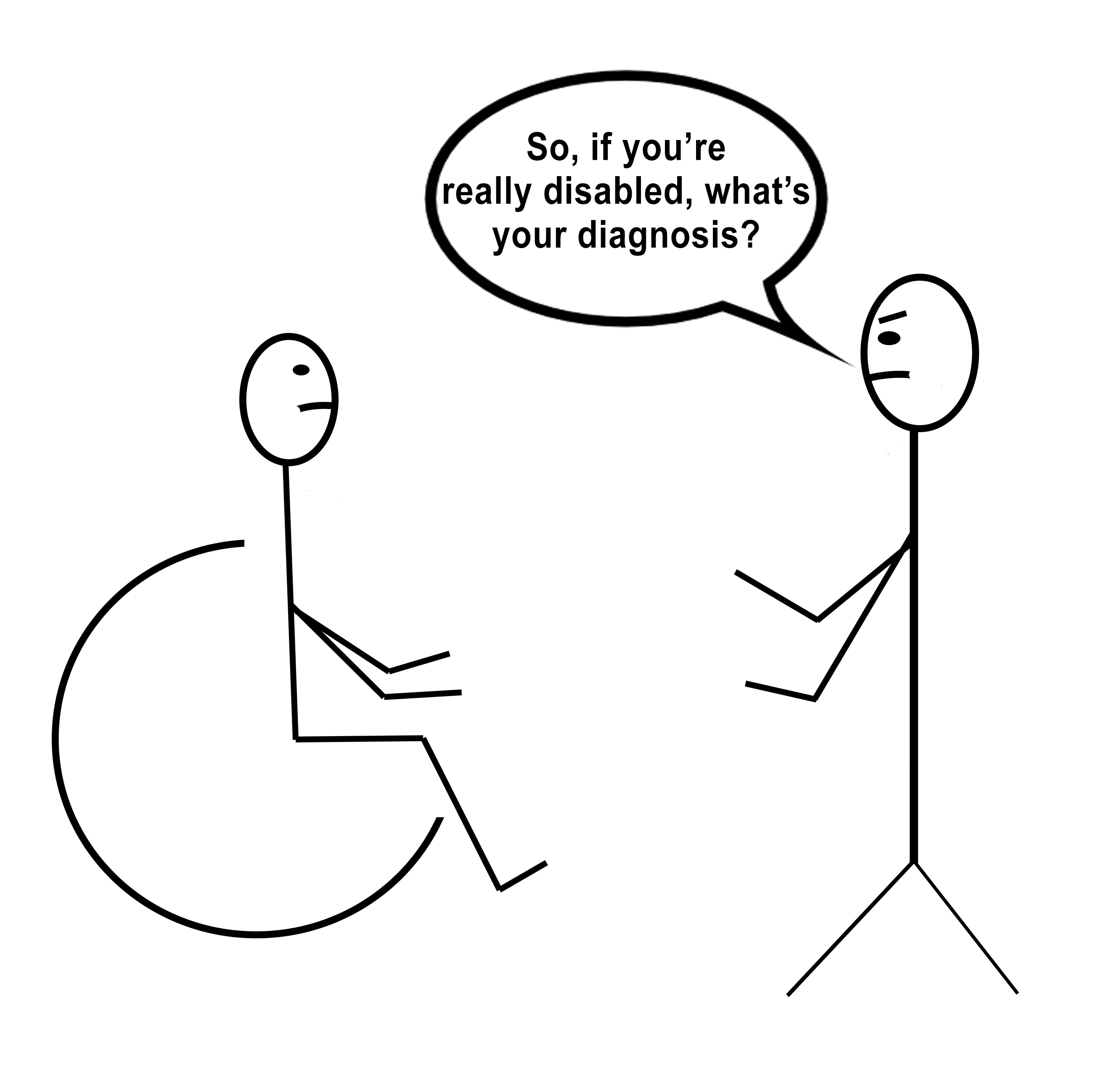 "[Image description: A stick figure drawing of a person in a wheelchair facing a standing person with angry eyebrows and a speech bubble that says ""So, if you're really disabled, what's your diagnosis?""]"